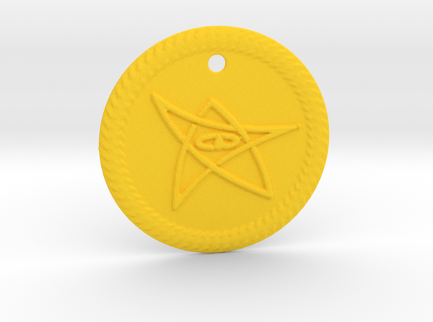 Elder Sign Pendant Alfa small in Yellow Processed Versatile Plastic