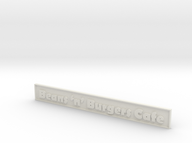 "1:24 Cafe Sign 5.5"" in White Natural Versatile Plastic"