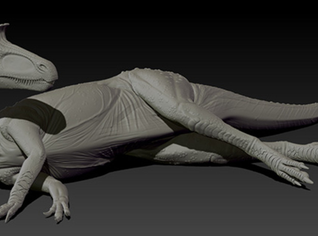 1/72 Cryolophosaurus - Laying on Side 3d printed Zbrush render of final sculpt