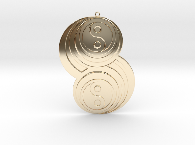 Pendant crop circles in 14K Yellow Gold