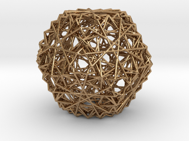 Cuboctahedron 15 Compound, Wireframe in Polished Brass