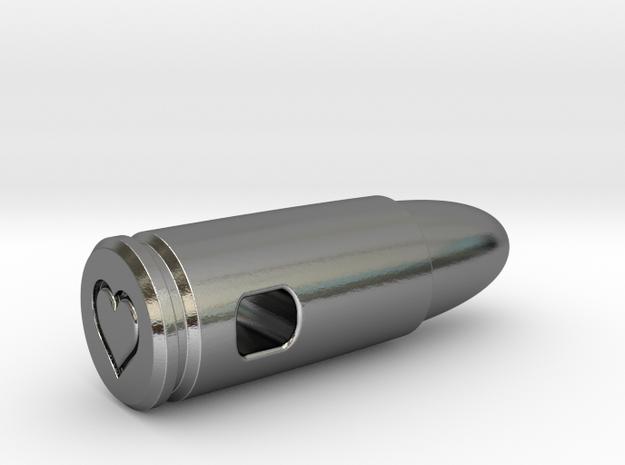 9mm Bullet Of Love Pendant, Precious Steel