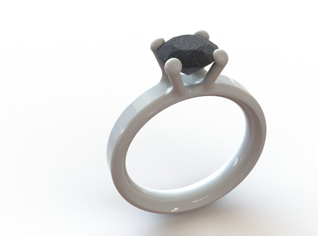 'Couture' Classic Four Claw Ring 3d printed White ring 16mm inside diameter paired with a Alumide diamond sized to 1 carat
