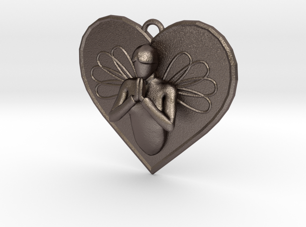 Praying Angel Heart Pendant in Polished Bronzed Silver Steel