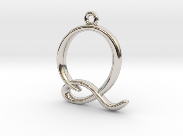 Q Initial Charm in Rhodium Plated Brass