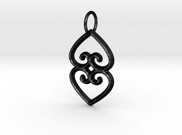ASASE YE DURU (Adinkra Symbol of Mother Earth) in Matte Black Steel