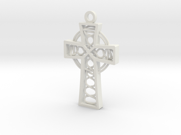 "Celtic Cross 1.5"" in White Natural Versatile Plastic"