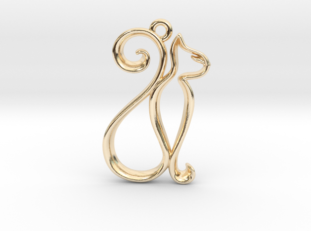 Tiny Cat Charm in 14k Gold Plated Brass