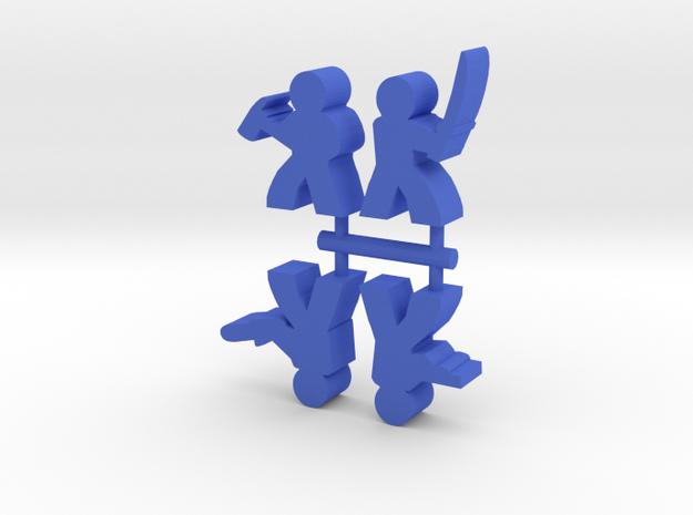 Survivor Meeple, mixed, 4-set in Blue Processed Versatile Plastic