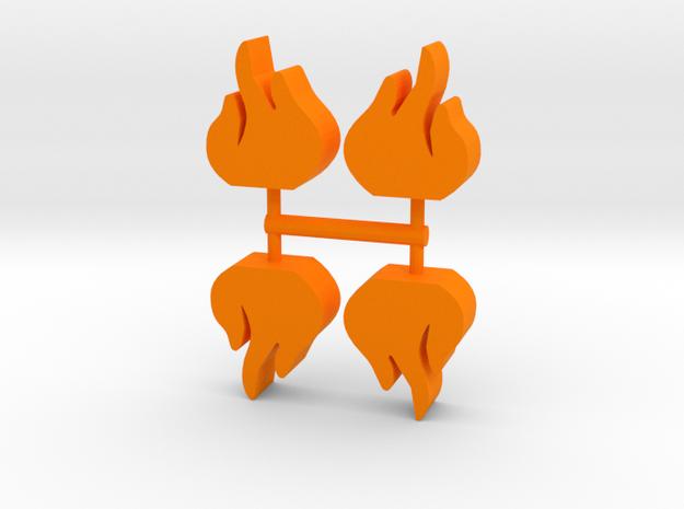 Flame Meeple, 4-set in Orange Processed Versatile Plastic