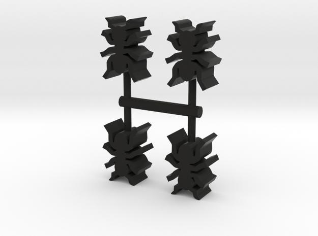Ant Meeple, 4-set in Black Natural Versatile Plastic