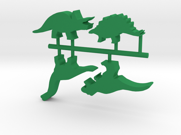 Game Piece, Dino 4-set in Green Processed Versatile Plastic