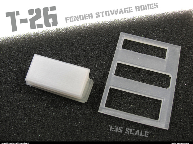 T-26 Fender Stowage Boxes (ONE BOX AND LID) in Smooth Fine Detail Plastic