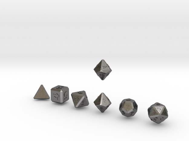 QUADRANT Bevel Outies dice in Polished Nickel Steel