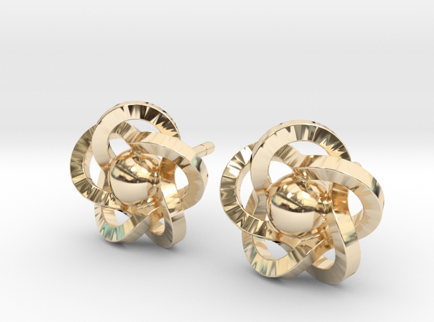 Flower Earrings in 14K Yellow Gold