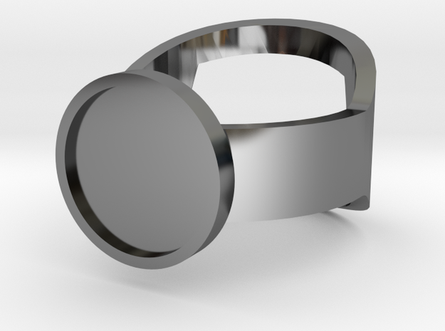 Customizable Bottle Opening Ring - Size 15 in Fine Detail Polished Silver