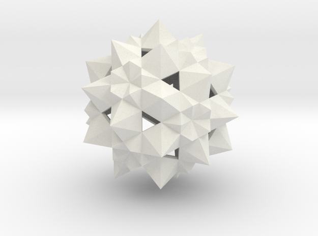 Stellated Icosidodecahedron  in White Natural Versatile Plastic