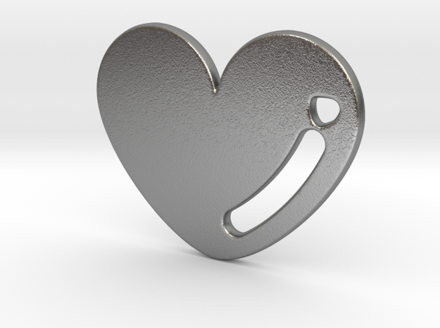 Love Heart Pendant in Natural Silver