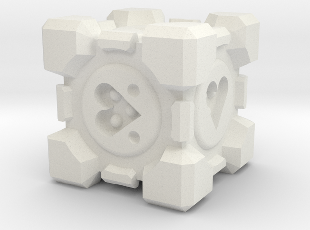Weighted Companion Cube Dice in White Natural Versatile Plastic