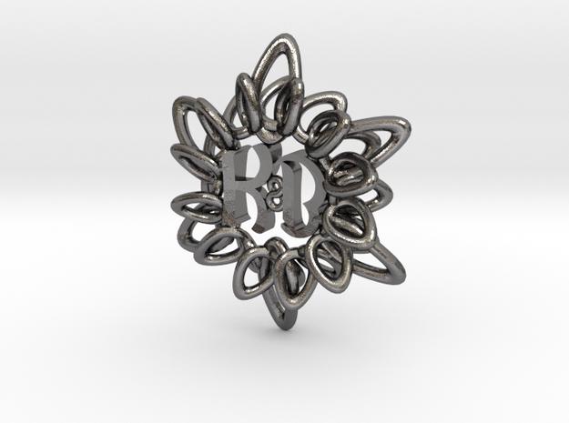 Initial Flower KB in Polished Nickel Steel