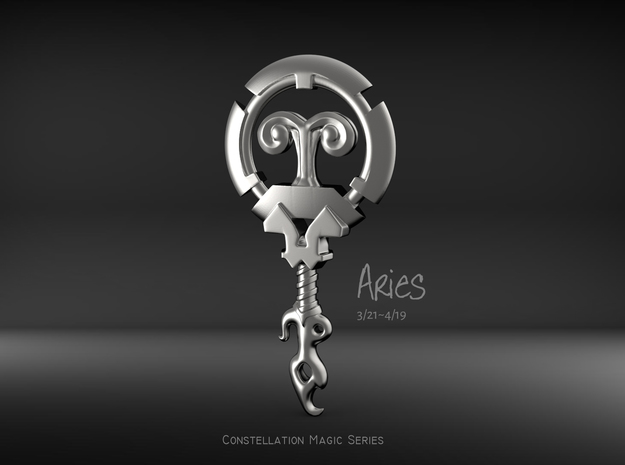 Aries[Constellation Magic Series] - Key Style in Fine Detail Polished Silver