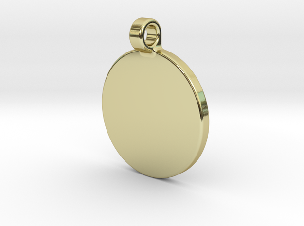 Your embossed pendant, round, 25mm. in 18k Gold Plated