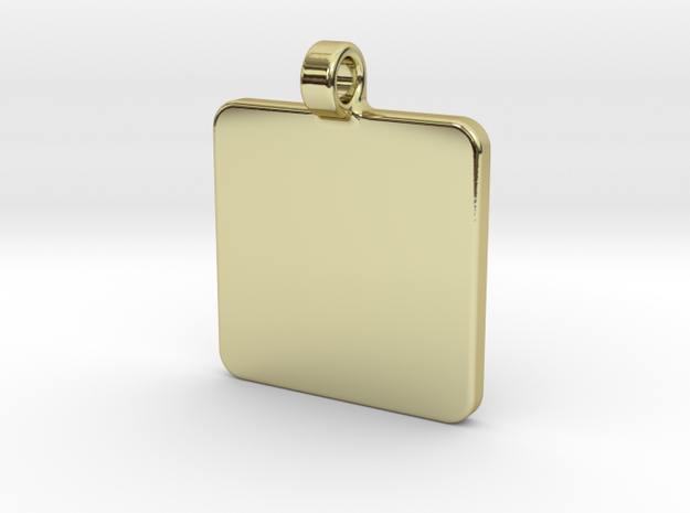 Your embossed pendant, square, 25mm in 18k Gold Plated Brass