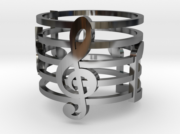 Musical Ring (Size 6) in Fine Detail Polished Silver
