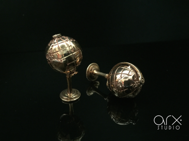 World Cufflinks in Polished Bronze