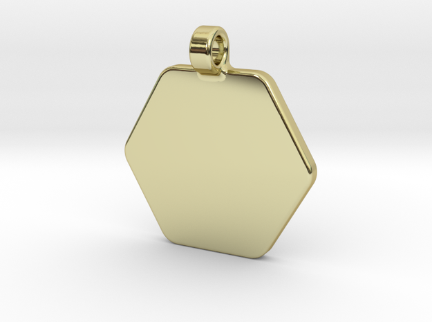 Your embossed pendant, hexagonal, 25mm. in 18k Gold Plated Brass