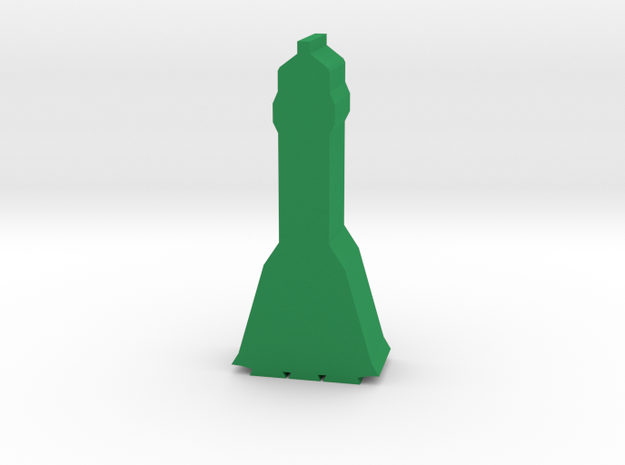 Game Piece, Soyuz-style Rocket in Green Processed Versatile Plastic