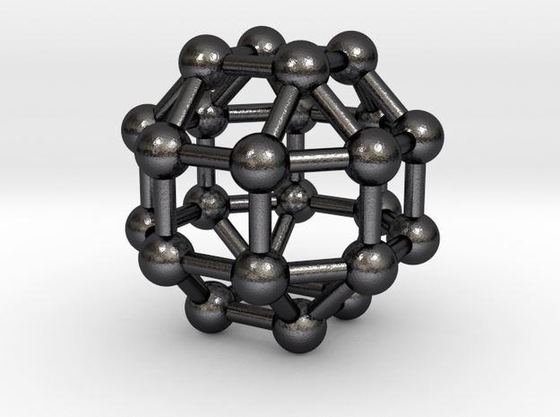0390 Small Rhombicuboctahedron V&E (a=1cm) #003 in Polished and Bronzed Black Steel