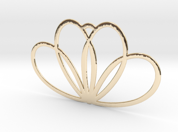Trihearts in 14k Gold Plated Brass