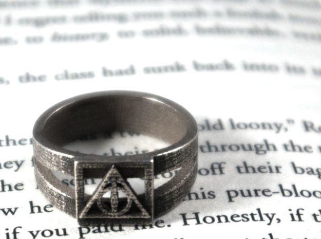 Deathly Hallows Ring Size 13 3d printed
