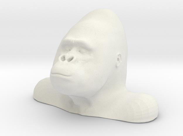Gorilla Bust Sculpt in White Natural Versatile Plastic