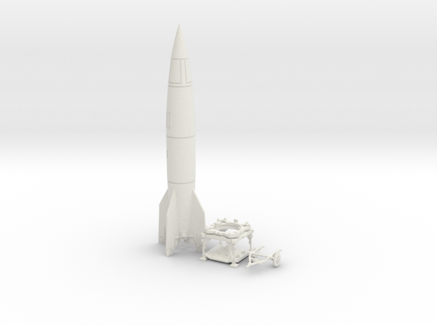 TT Gauge - V2 Rocket With Platform and Dolly in White Strong & Flexible
