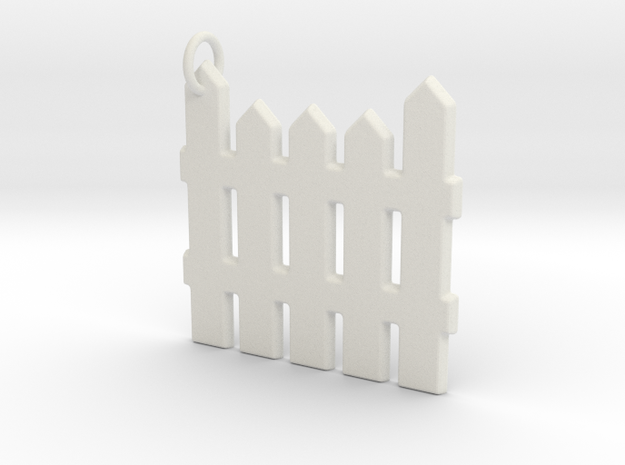 White Picket Fence Keychain in White Strong & Flexible