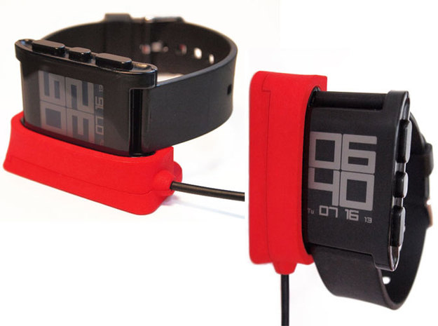 Pebble Dock - Vert + Horizontal 3d printed Pebble Watch Dock - horizontal & vertical options
