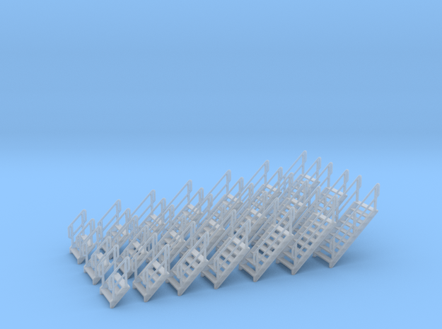 HO Stairs assorted 21pc in Smooth Fine Detail Plastic
