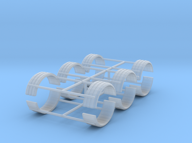 1/64th Single tire fender set of six in Smooth Fine Detail Plastic