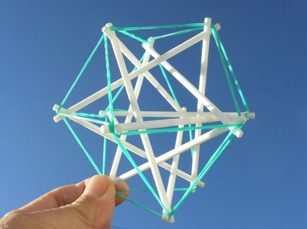 Tensegrity Cuboctahedron 1 in White Strong & Flexible
