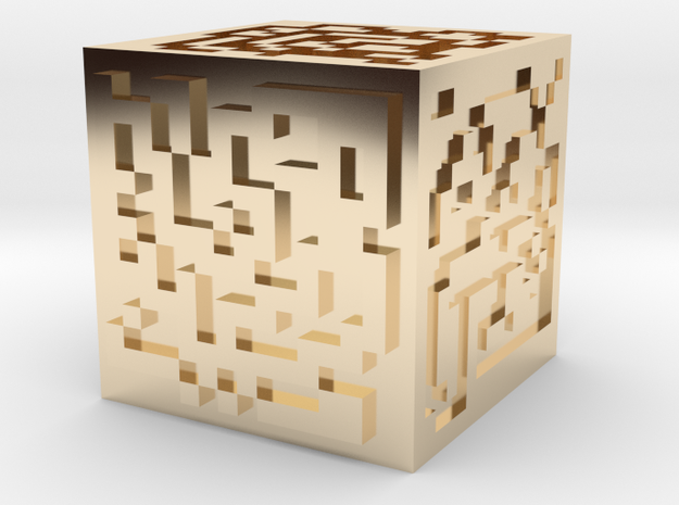 Maze cube in 14K Yellow Gold