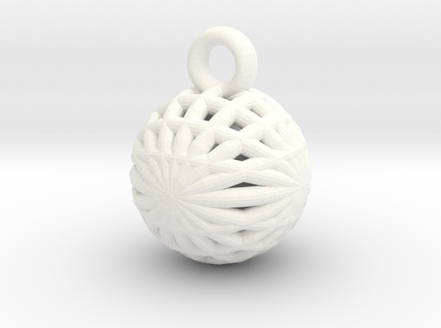 Grid Ball keychain in White Processed Versatile Plastic