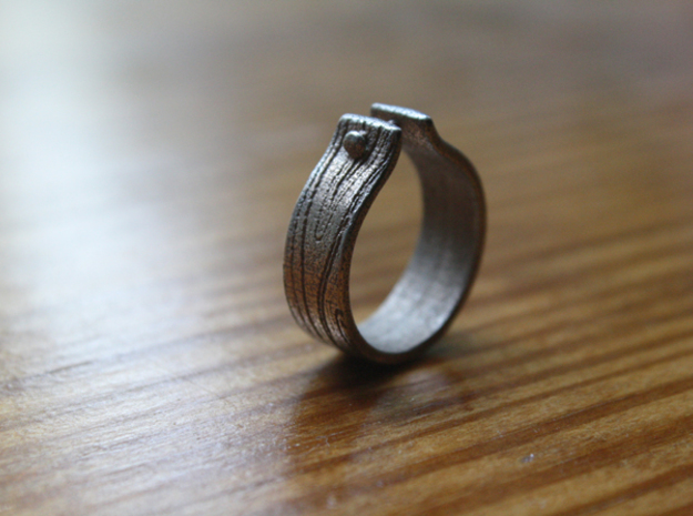 WOOD & NAIL Ring 3d printed Wood & Nail - Craftsman stainless steel