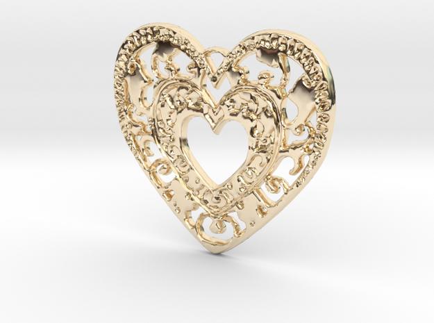 Flourish Heart Pendant in 14K Gold