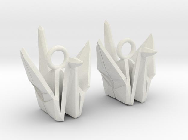 Origami Crane Earrings in White Natural Versatile Plastic