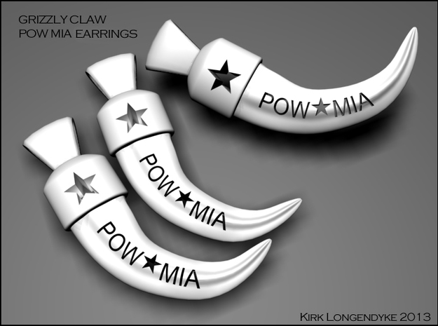 Grizzly Claw Pow Mia Earrings 3d printed Grizzly Claw Earings - POW MIA cut out.
