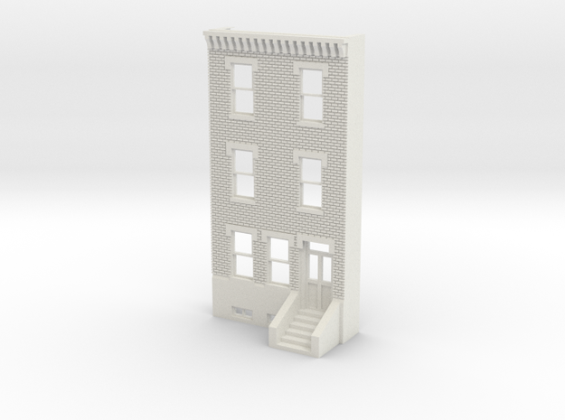 O SCALE ROW HOUSE FRONT BRICK 3S REV in White Strong & Flexible