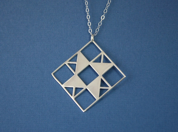 Double Friendship Star Pendant in Polished Silver