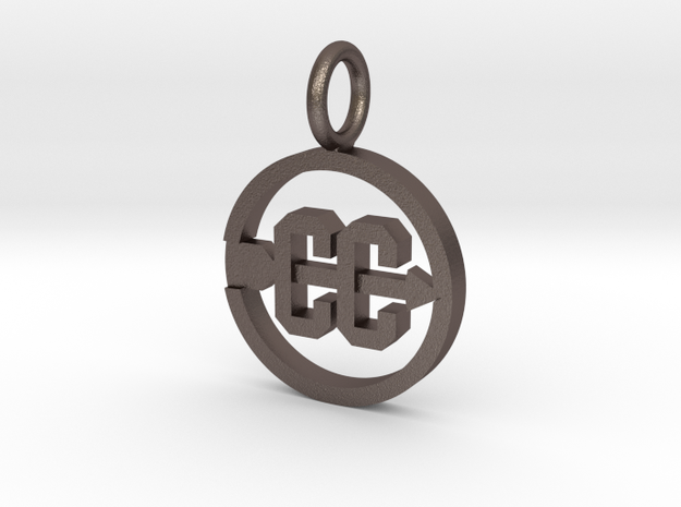 Cross Country Pendant/charm in Polished Bronzed Silver Steel